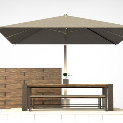 Rendering ombrellone per arredo esterni